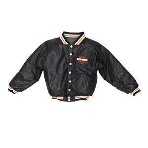 Harley Davidson Black Reversible Varsity Jacket 7y